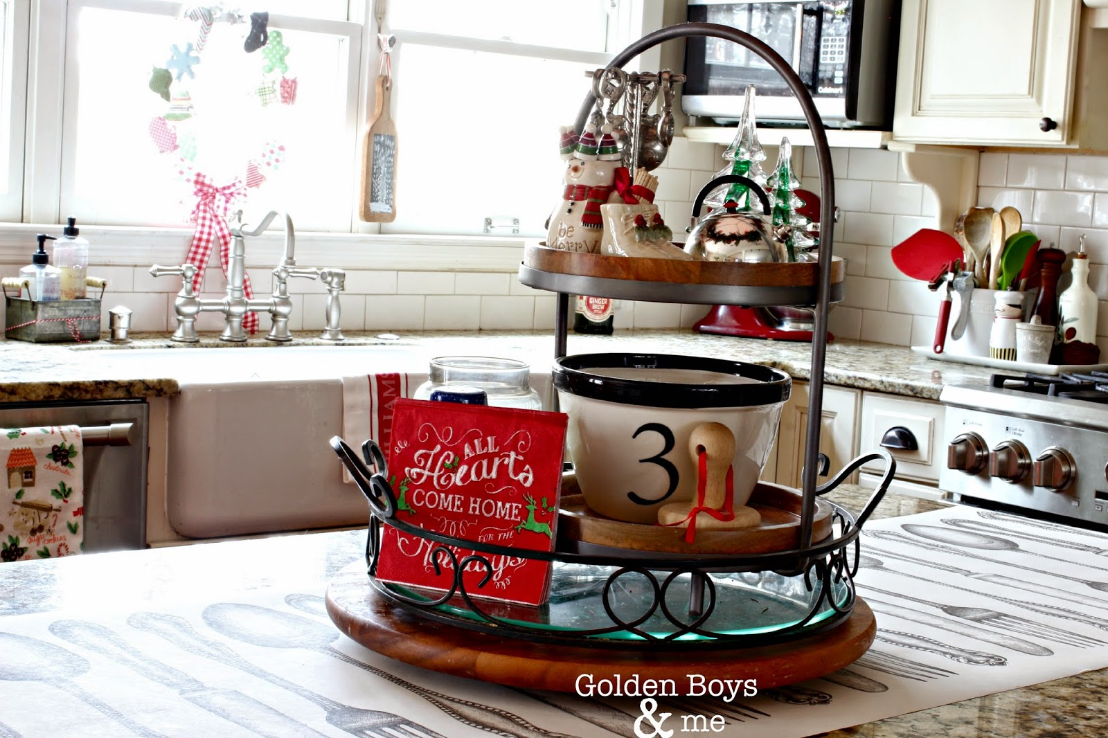 3 tiered stand from World Market in Christmas kitchen-www.goldenboysandme.com