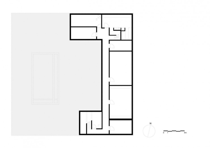 Basement floor plan of Minimalist Home by Beel & Achtergael Architects