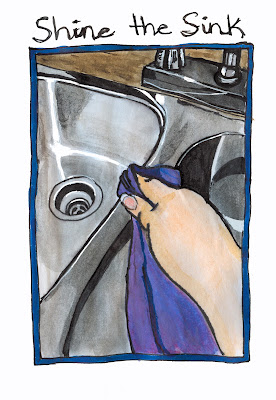 Shining the Sink Watercolour and Ink by Ana Tirolese ©2012