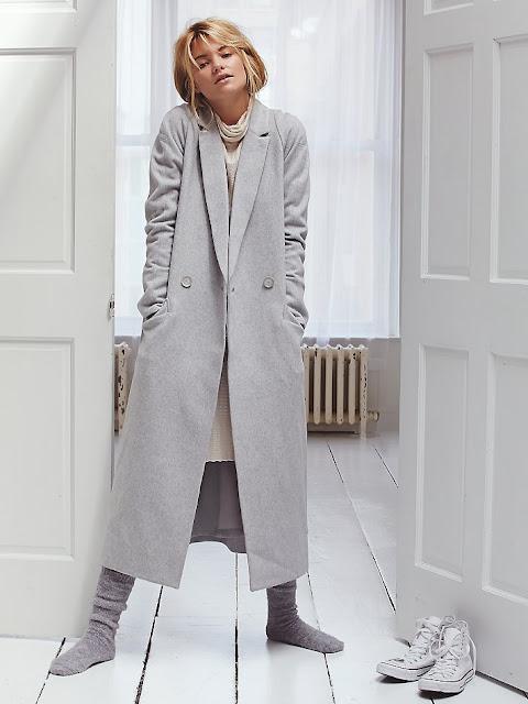 slim light grey wool coat, slim grey coat, slim maxi wool coat, free people grey long coat,