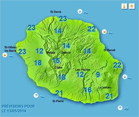 Prévisions météo Réunion pour le Mardi 13/05/14