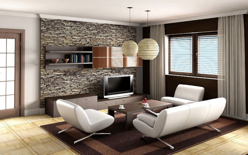 Interior Luxury Design For Living Room White Sofa Furniture Sets Brown Carpets Ceramic Tiles