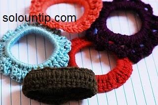Liga para el cabello tejida a crochet