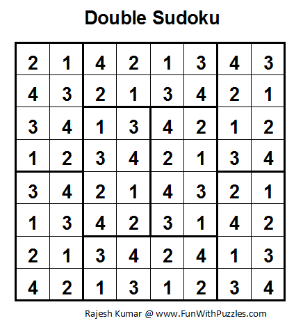 Double Sudoku (Fun With Sudoku #7) Solution
