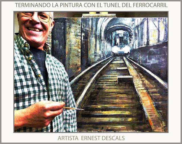 FERROCARRIL-PINTURAS-TUNEL-TREN-PINTURA-CUADROS-FOTOS-ARTISTA-PINTOR-ERNEST DESCALS-