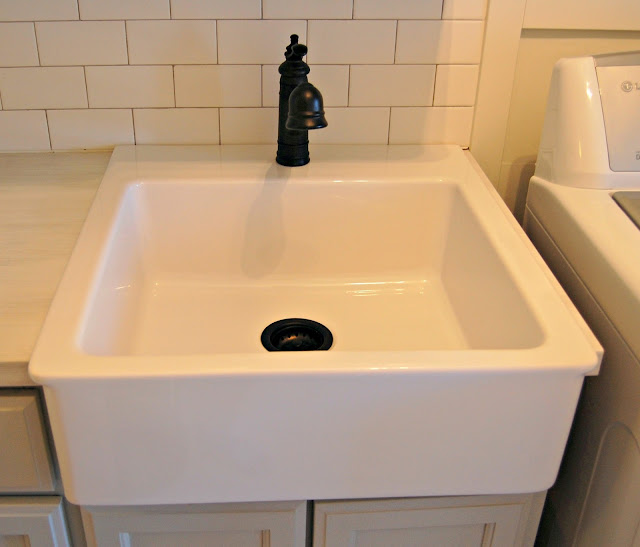 Farmhouse Laundry Sink : The new beadboard ceiling with crown moulding and a