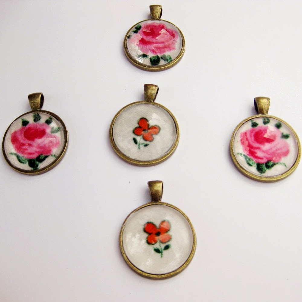 Floral fabric pendants