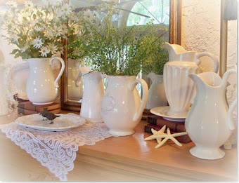 I have a passion for collecting white pitchers, they are everywhere in my home
