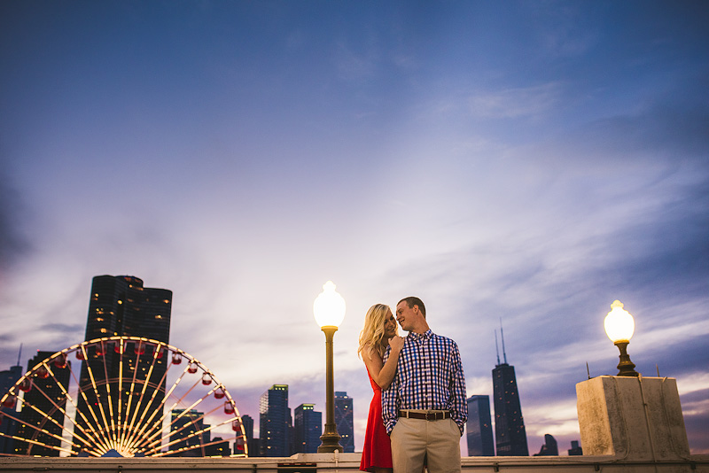 Navy Pier Chicago Sunset Engagement Photo