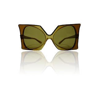 Vintage 1960's Pierre Cardin green ombre square frame plastic sunglasses.