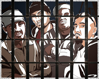 Illustration of gang members behind bars.