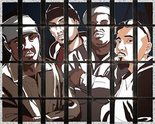 Illustration of gang members behind bars.