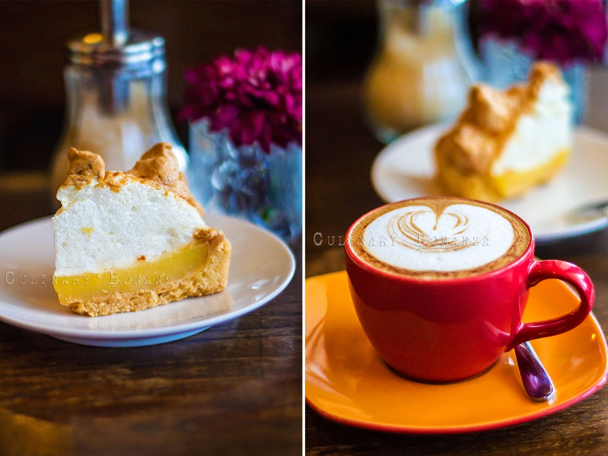 Left: Lemon Meringue Pie | Right: Cappuccino