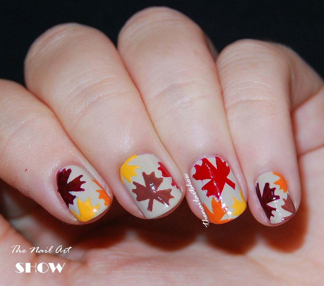 Thatleanne Firey Autumn Leaves Nail Art: The Nail Art Show: Autumn Leaves