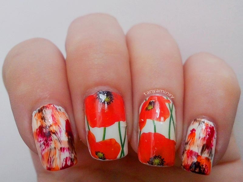 BPS Red Flowers Water Decals + Distressed Nails Nail Art Nail Design