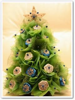 онлайн видеоурок Новогодняя елочка из конфет