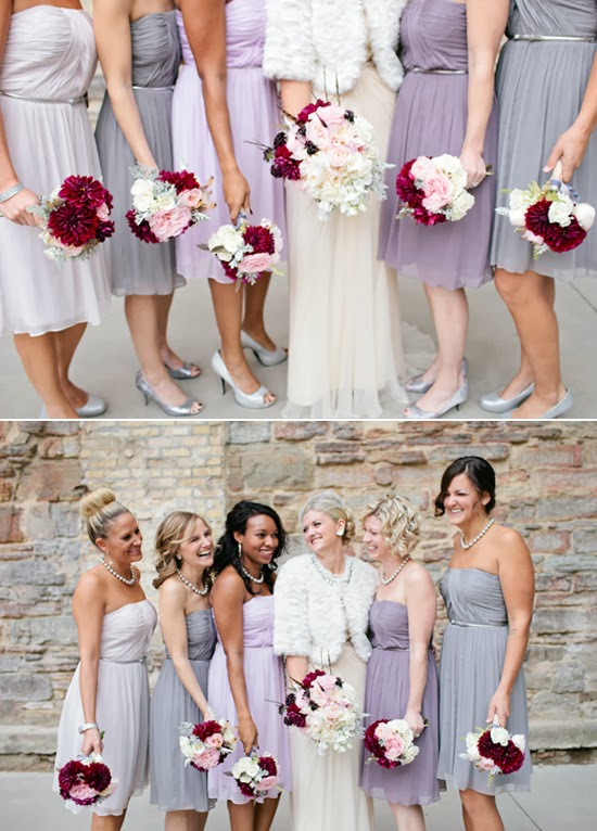 to wear - Bridesmaid Grey dresses with purple flowers pictures video
