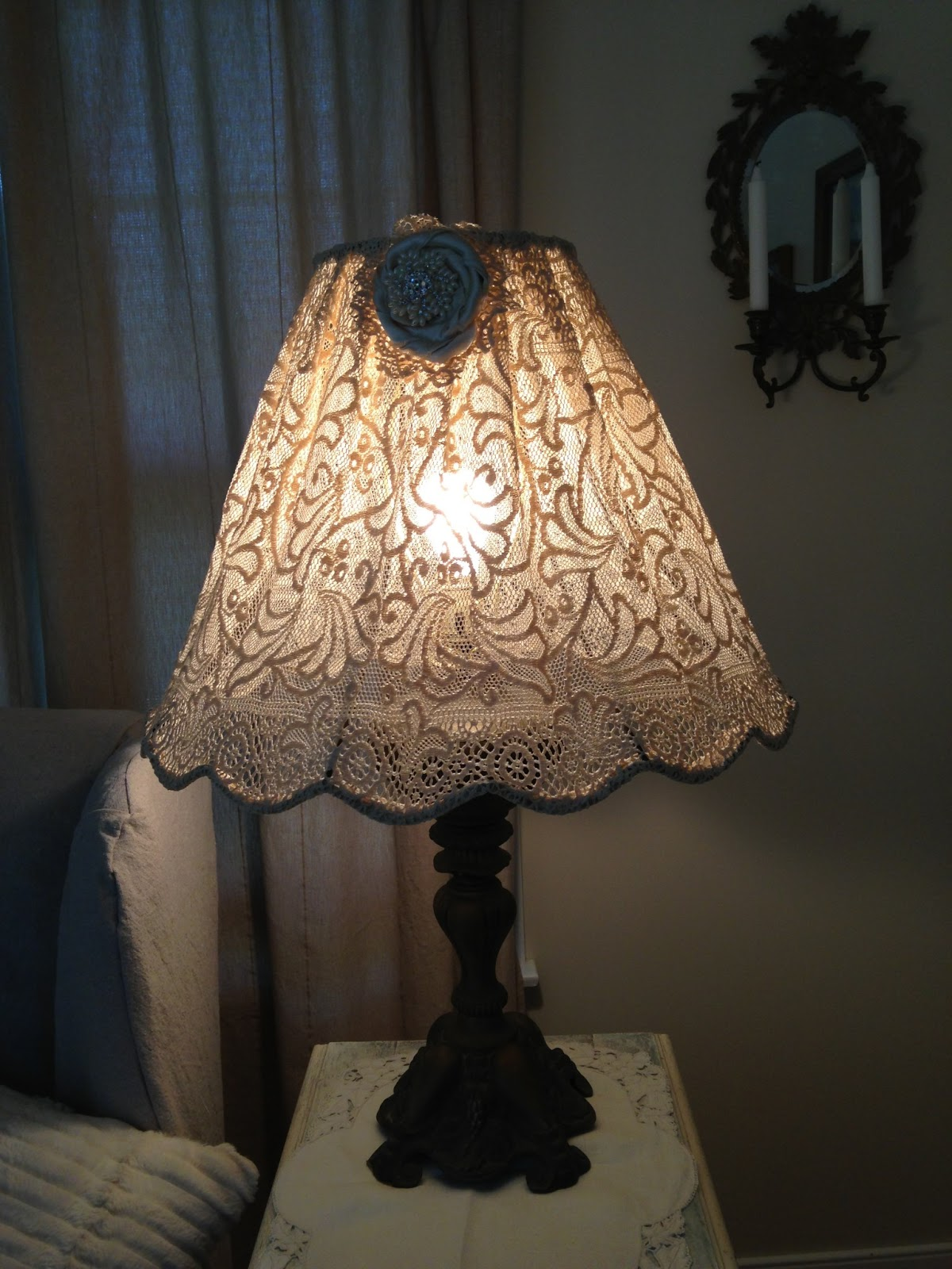 Restored treasures too diy lampshade using an antique lace tablecloth aloadofball Gallery