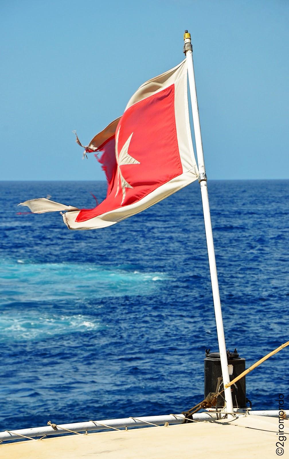 Bandiera croce ottogona bianca