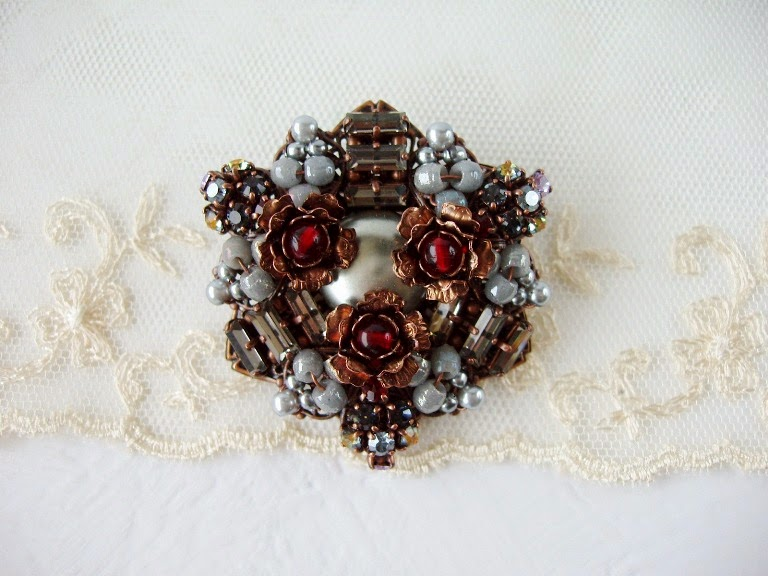 Handmade brooch from Swarovski Preciosa crystal rhinestones Czechoslovakia beads French Prosser Trade beads handmade pearls