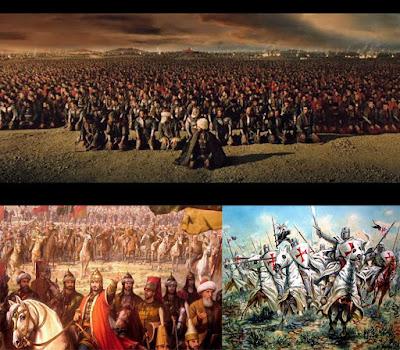 Gambaran perang di Yerussalem, kekaisaran Byzantium, dan perang Salib