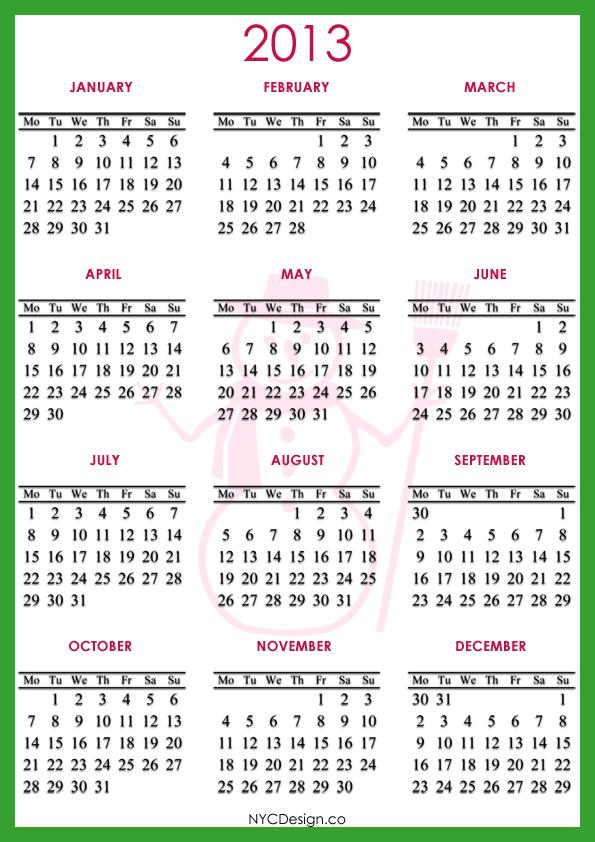 Small Printable 2013 Calendar