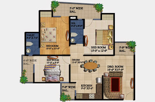 34 Pavilion :: Floor Plans,Azure:- 3 BHK2 Bedrooms, 2 Toilets, Kitchen, Dining, Drawing, 2 Balconies Super Area - 1295 Sq Ft