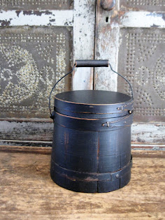 early sugar bucket with old paint