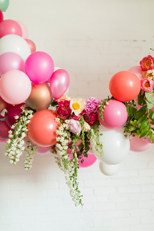 Flamingo Pop. A bridal collaboration with BHLDN and The House That Lars Built. Balloon installation by Brittany Watson Jepsen. Florals by Ashley Beyer of Tinge Floral. Balloons provided by Zurchers Party store.  Photo by Jessica Peterson.