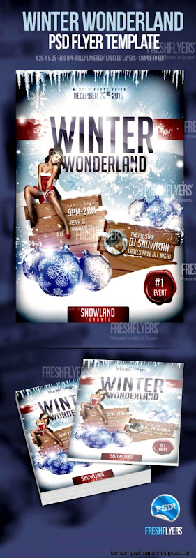 Winter Wonderland Christmas Party Flyer Template   Christmas Party