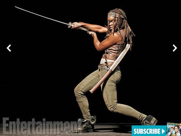 Danai Gurira como Michonne en EW y la 5ª temporada de The Walking Dead
