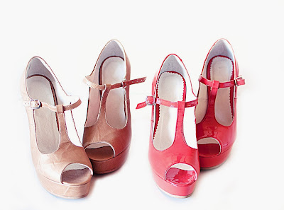 pantofi platforma rosii din piele, pantofi platforma bej din piele