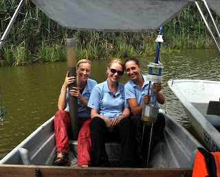 Suzanne McGowan, Melanie Leng and Ginni Pannizo (left to right taking cores of sediment from Tasik Chini