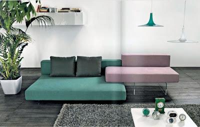 sala moderna color turquesa y lavanda