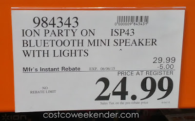 Deal for the Ion Party On Compact Wireless Bluetooth Speaker with Party Lights at Costco