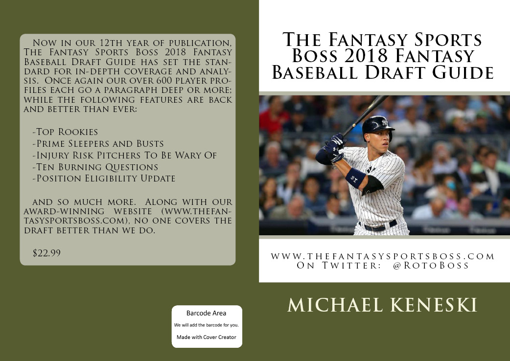 ORDER THE FANTASY SPORTS BOSS 2018 FANTASY BASEBALL DRAFT GUIDE JUST $22.99