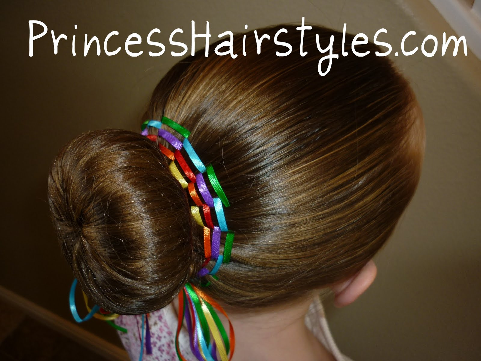 Rainbow bun dance bun with ribbon hairstyles for girls princess