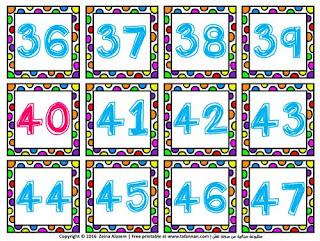 بطاقات الأرقام الإنكليزية نسخة ملونة English numbers colored