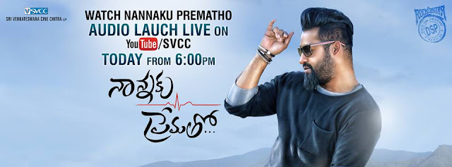 Nannaku Prematho 2016 Telugu movie audio launch live and exclusive on SVCC featuring Jr NTR and Rakul Preet. #NannakuPrematho music composed by DSP. Directed by Sukumar.  Nannaku Prematho movie also features Jagapathi Babu, Rajendra Prasad and Thagubothu Ramesh. Produced by BVSN Prasad under the banner Sri Venkateswara Cine Chitra.  Full Details Movie : Nannaku Prematho Cast : Jr NTR, Rakul Preet, Jagapathi Babu & Rajendra Prasad Director : Sukumar Music : Devi Sri Prasad Producer : BVSN Prasad Banner : Sri Venkateswara Cine Chitra Cinematography : Vijay C Chakravarthy Editing : Navin Nooli