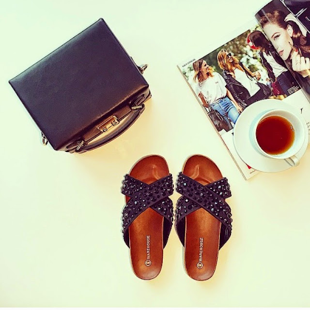 fashion blog, mark cross bag, asos black box bag, black slides, black slippers, coffee, magazine, fashion blog