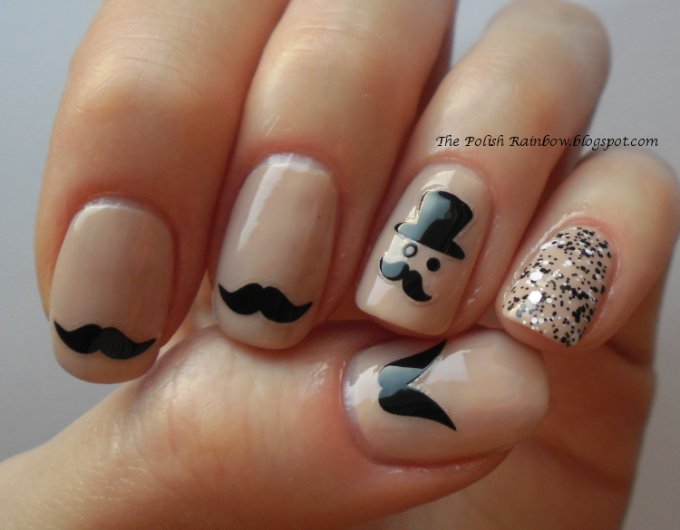 The Polish Rainbow: Nail Look: Moustaches And Monocle