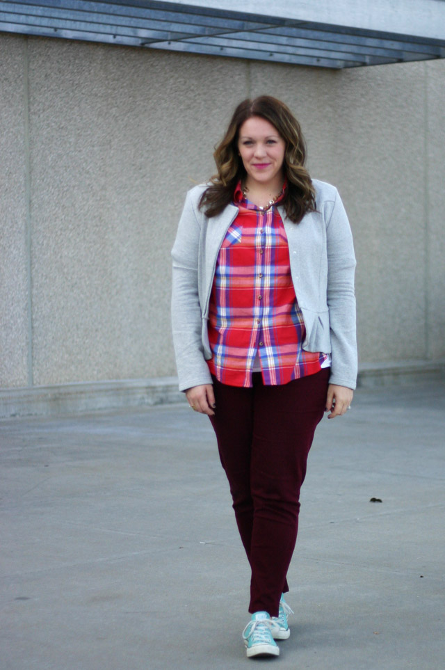 wearing a casual plaid outfit