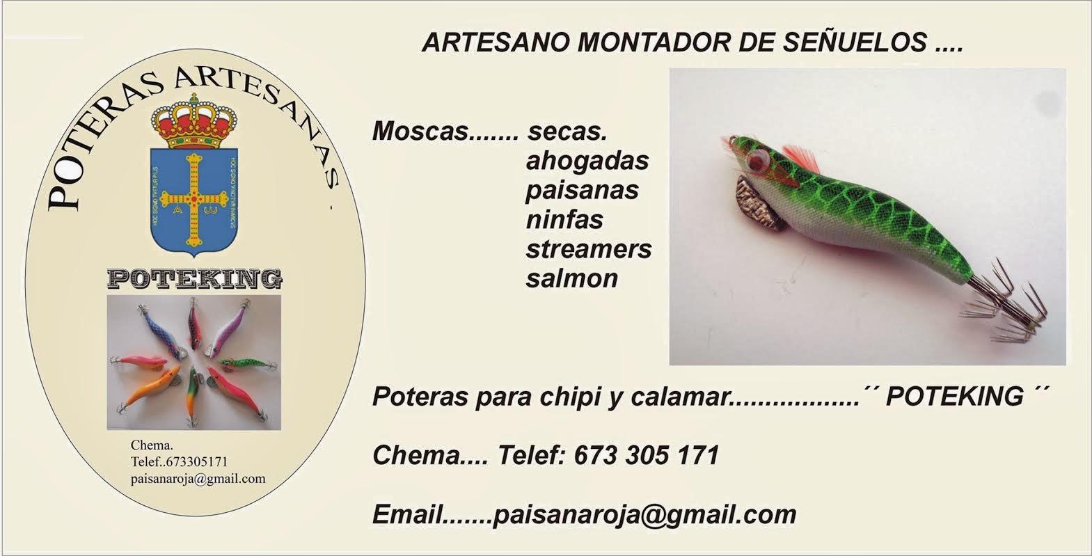 Artesano asturiano montador de moscas para la pesca y POTERAS CALAMAR