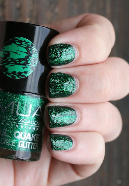 MUA Green Glitter Quake over A England Tess D'Ubervilles swatch