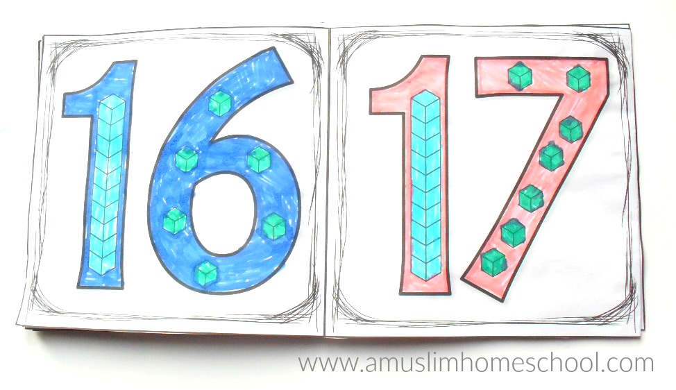 a muslim homeschool: Place value numbers 10-19....colouring fun!