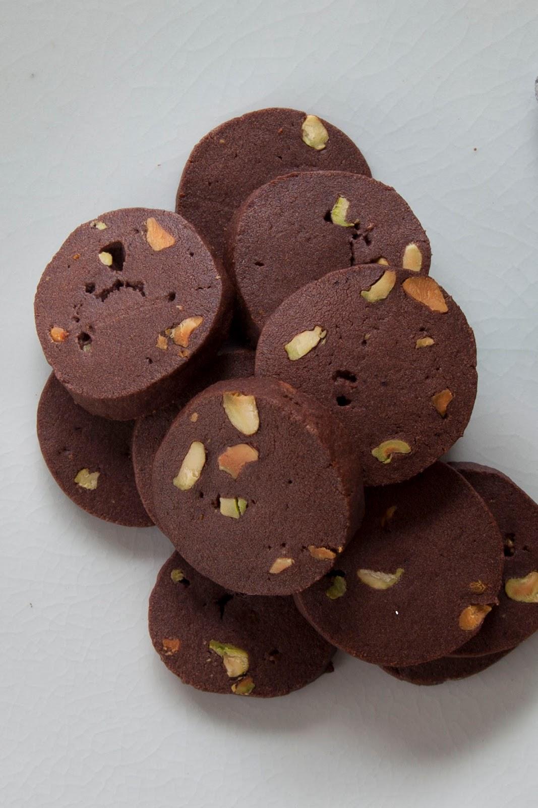 chocolate pistachio cookies, christmas cookies