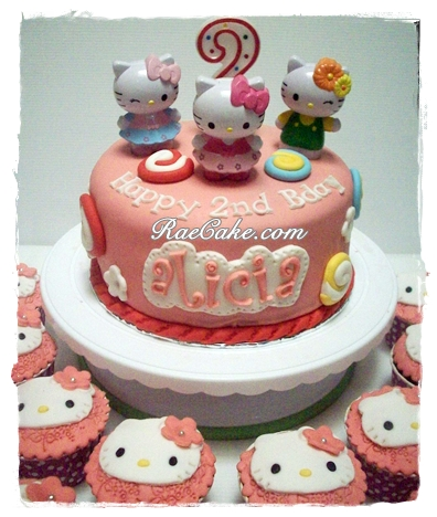 Hello Kitty Cake and Cupcake for Alicia Kue Ulang Tahun