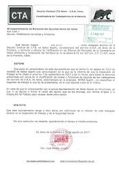 Comunicamos al Ayuntamiento de Jerez la citación en la Inspección de Trabajo por la denuncia por ca