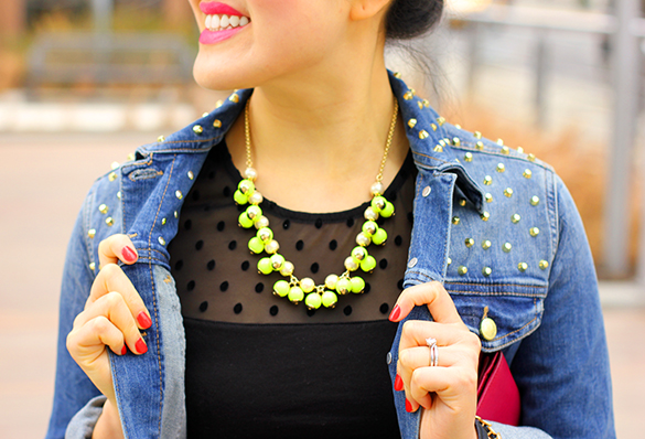 J.Crew Neon Yellow Bubble Necklace