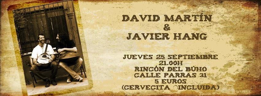 Cartel del concierto de Javier Hang y David Martín en el Rincón del Búho